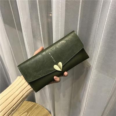 Women Simple Retro Heart Buckle Long Wallet