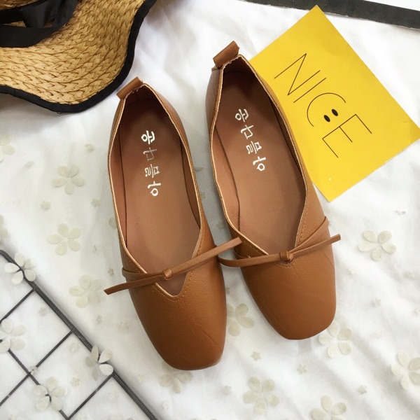 Women Basic Square Head Grandma Casual Flat Heel Shoes