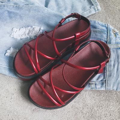 Women Open Toe Roman Strap Basic One Button Buckle Sandals