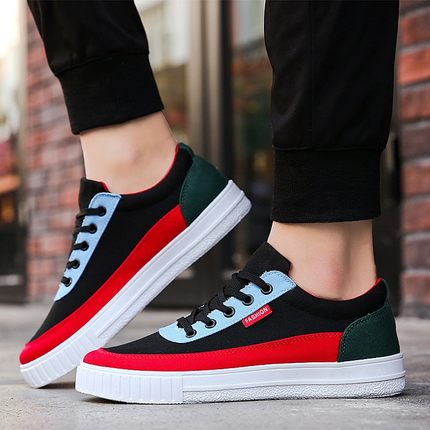 Men's Colored Cloth Trendy Lace Up Student Canvas Shoes