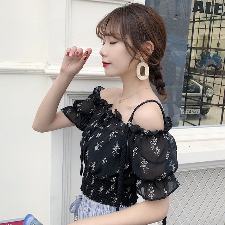 Women Floral Chiffon Off Shoulder Pleated Crop Top