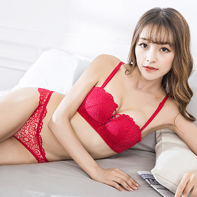 Women Sexy Flower Lace No Rim Square Cup Lingerie Set