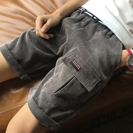 Men's Plain Corduroy With Side and Front Pocket Plus Size Shorts