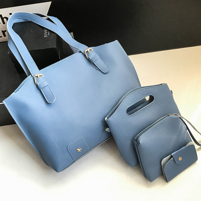 Women Plain Colored 4in1 Fashion Handbag With Sling and Mini Purse