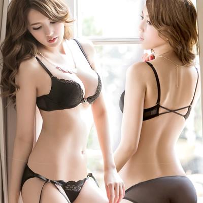 Transparent Black Sexy Lingerie Bra Set