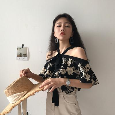 Women Floral Print Loose Off Shoulder Lace Tie Tops