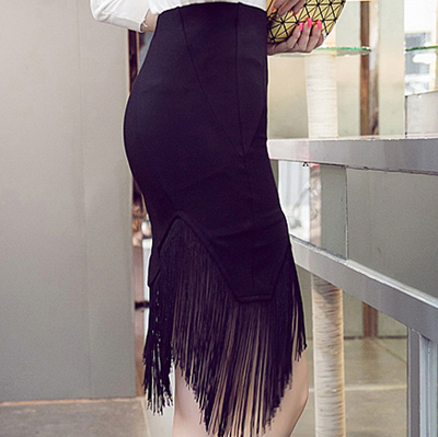 Women Black High Waist Stretch Fabric Tassel Edge Plus Size Skirt