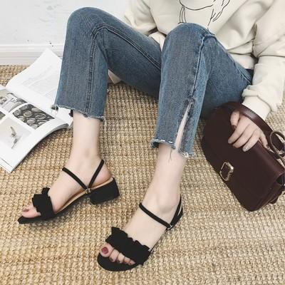 Women Suede Ruffled Lace Summer Fashion Low Heel Slipper Sandals