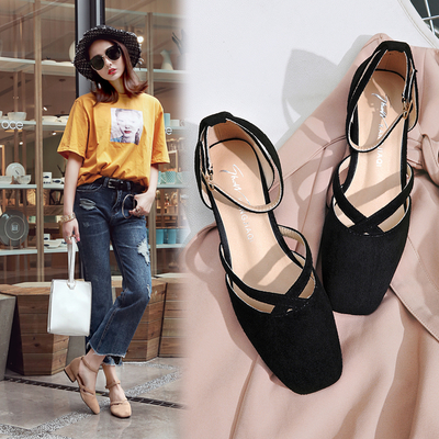 Women Suede Retro Square Head Ankle Buckle Strap High Heel Shoes