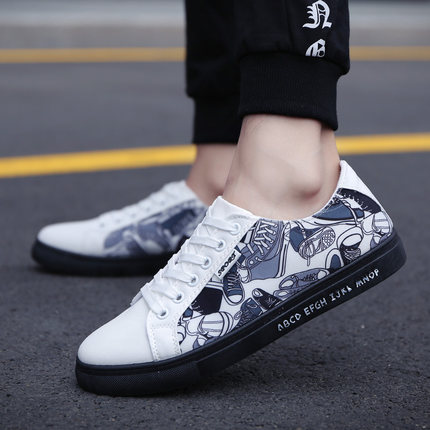 Men's Printed Alphabet Handsome Fashion Student Running Sports Canvas Shoes