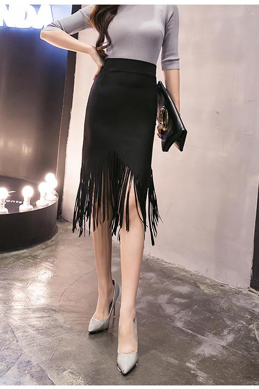 Women Black Long High Waist Sexy Stretch Tassel Plus Size Skirt