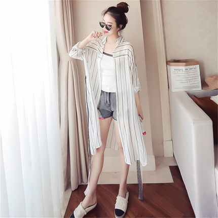 Women Stripes Breathable Lace Back Tie Plus Size Long Cardigan