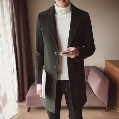 Men's Wool Casual Long Sleeve Coat Long Windbreaker Plus Size Jacket