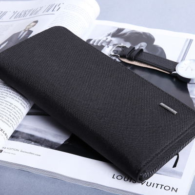 Men's High Quality Canvas Wallet Long Zippered Clutch Hand Wallet