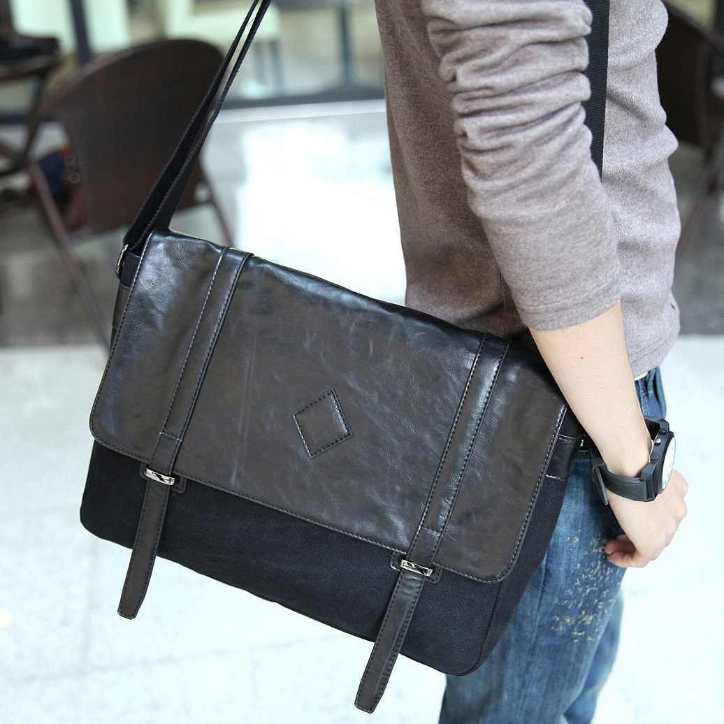 Men's Black Leather Canvas Messenger Bag Business Casual Shoulder Crossbody Bag