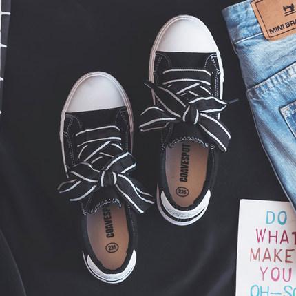 Women Ribbon Lace Tie Ladies Fashion Rubber Shoes Plus Size Sneakers