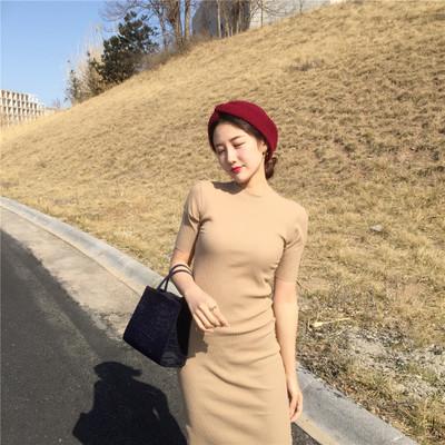 Women Solid Color Round Neck Short Sleeve Slim Fit Skirt Dress