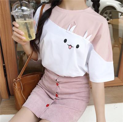 Women Cute Rabbit Ears Giant Sleeve Loose Shirt Round Collar Tops