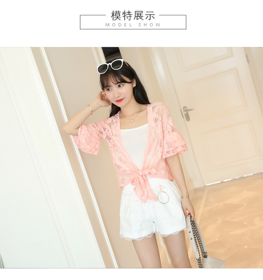 Women Lace Floral Horn Sleeve Ladies Fashion Plus Size Summer Cardigan