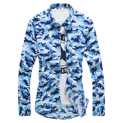 Men\'s Camouflage Collared Long Sleeves Casual Slim Fit Plus Size Shirts
