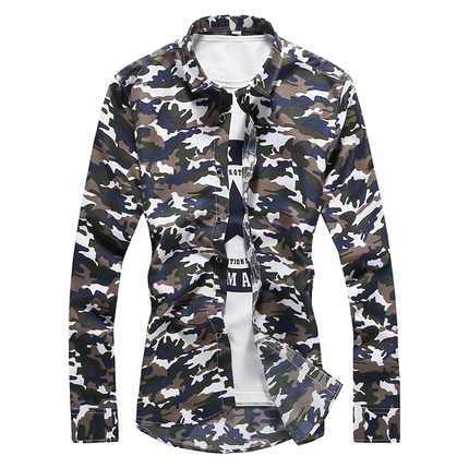 Men's Camouflage Collared Long Sleeves Casual Slim Fit Plus Size Shirts