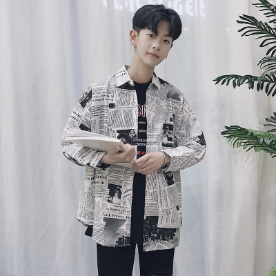 Men\'s Newspaper Print Loose Long Sleeves Retro Summer Trend Shirts