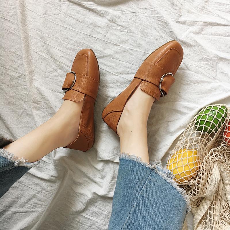 Women Square Head Peas Shoes Ladies Fashion Doll Flat Shoes
