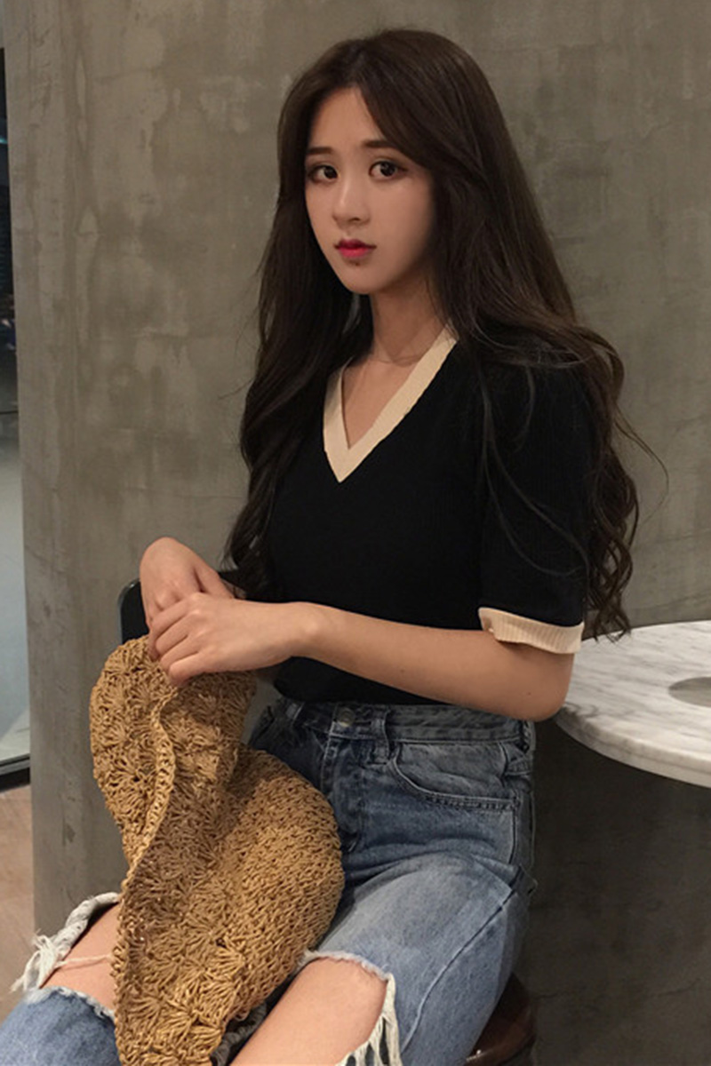 Women V Neck Chic Fashion Ladies Trend T Shirt Blouse Tops