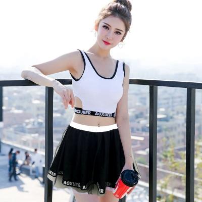Women Black And White Split Type Conservative Swimsuit Skirt Type Plus Size Swimwear
