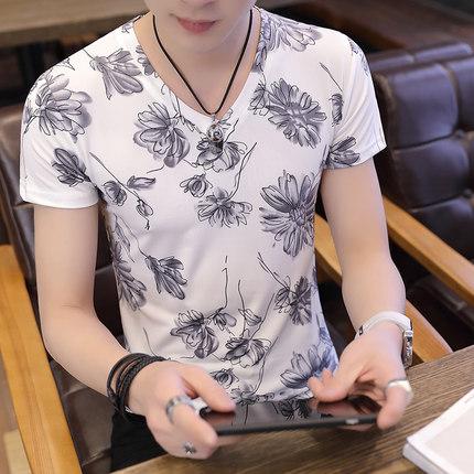 Men's Nature Print Short Sleeve Slim Fit Sweatshirt Plus Size Tees