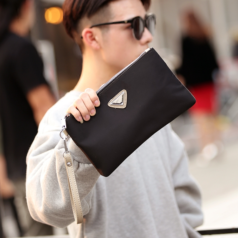 Men's Nylon Fashion Small Mobile Phone Bag Hand Bag Unisex Clutch Bag