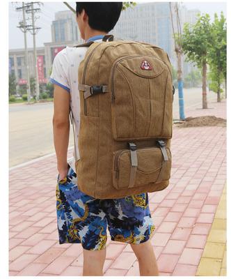 Men's Large Retro Big Capacity Travel Luggage Camping Bag Unisex Backpack