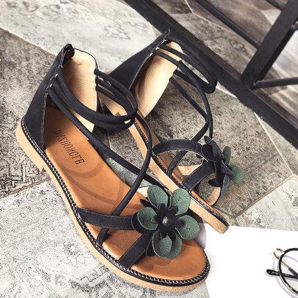 Women Flower Petal Cross Strap Roman Shoes Back Zipper Flat Plus Size Summer Sandals
