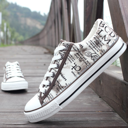 Men's Hand Painted Graffiti Breathable Street Fashion Canvas Shoes