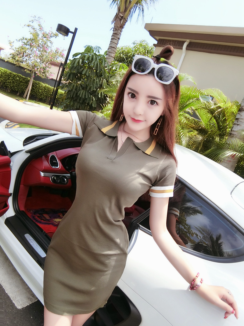 Women Sweet Fashion Short Sleeve Slim Fit Collared Polo Dress Skirt