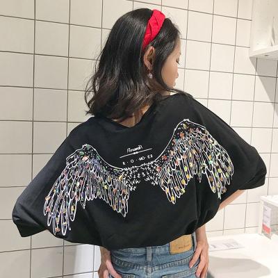 Women Back Design Wings Summer Fashion  Loose Shirt Round Neck Thin Top