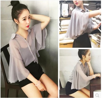 Women Gray Chiffon Loose Bat Sleeve Collared Vest Female Fashion Shirt Vest