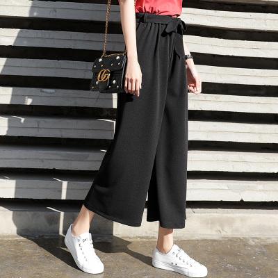 Women High Waist Tie Belt Straight Cut Wide Leg Plus Size Pants