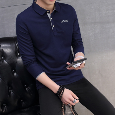 Men's Long Sleeve Polo Collared Shirt Spring Fashion Plus Size Tees