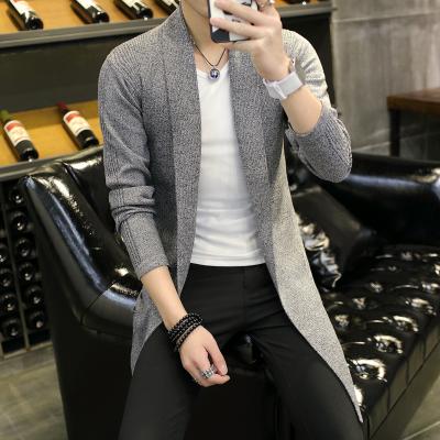 Men's Knit Windbreaker Handsome Fashion Long Slim Fit Plus Size Coat Jacket