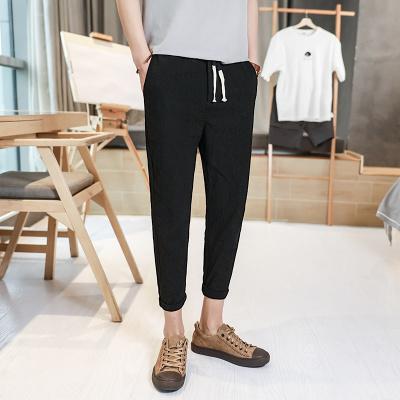 Men's Linen Trousers Loose Pants Casual Trend Plus Size Crop Pants