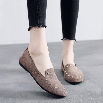 Women Beads Solid Color Velvet Cloth Ladies Shoes Plus Size Comfy Flat Peas Shoes