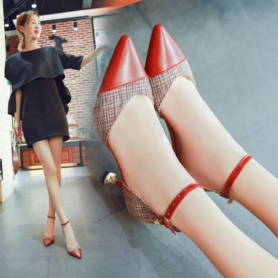 Women Pointed Toe Sexy Sandals Ankle Buckle Ladies High Heels
