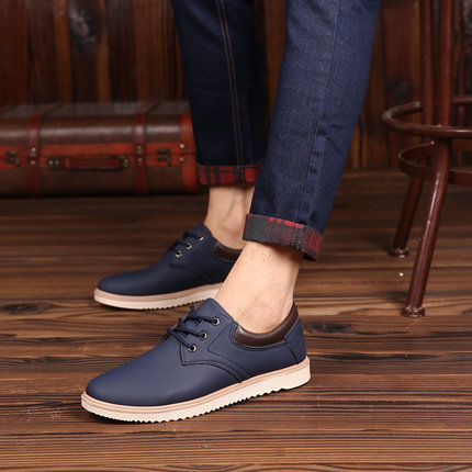Men's Spring Fashion Simple Working Shoes Lace Up Male Casual Shoes