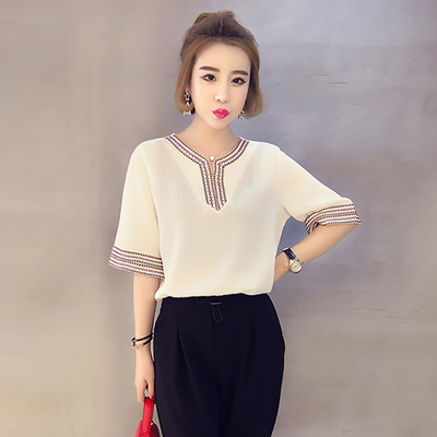 Women Ethnic Embroidery V Neck Chiffon Ladies Loose Plus Size Tops 7334adc1f