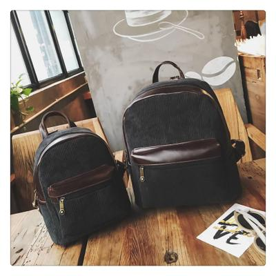Women Corduroy Fabric Mother Daughter Fashion Bags Retro Trend Backpack