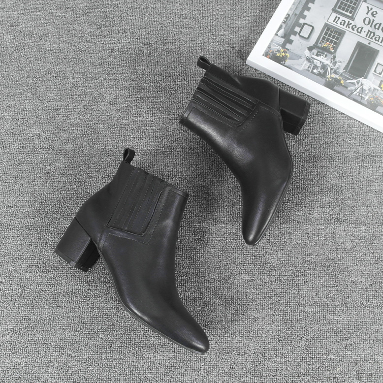 Women Black Pointed Toe Thick Heel Casual Business Warm Fashion Boots