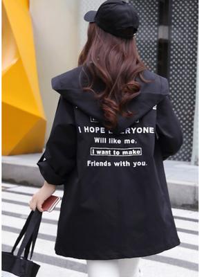 Women Hooded Windbreaker Loose Long Sleeve Coat Plus Size Fashion Jackets
