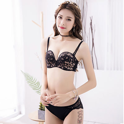 Women Lace Strapless Bra No Rim Underwear Comfort Wear Sexy Lingerie Set