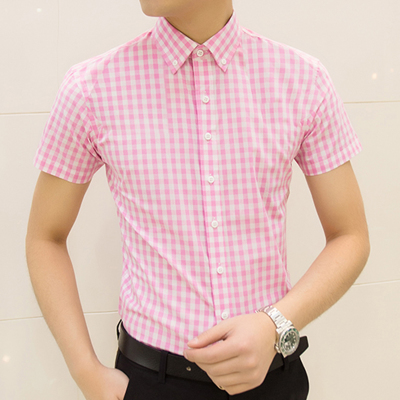 Men's Checkered Shirt Polo Collar Short Sleeve Casual Trend Plus Size Shirt